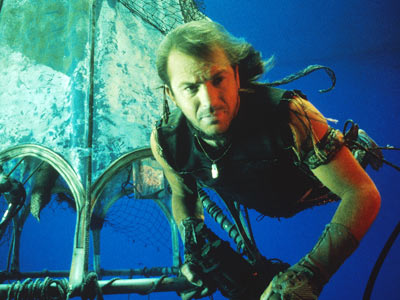"Kevin Costner as a mutant manfish in the movie Waterworld - the moder freediver's ""wet"" dream. (Sorry...bad joke...)"