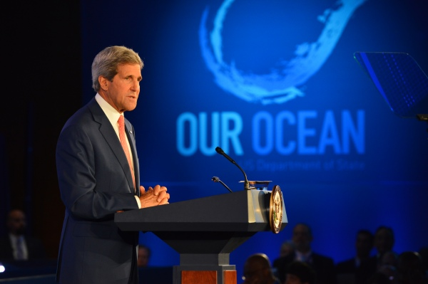 "U.S. Secretary of State John Kerry delivers remarks at the opening session of the 2014 ""Our Ocean"" conference at the U.S. Department of State in Washington, D.C. on June 16, 2014."